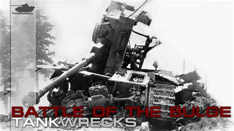 Battle of the Bulge Destroyed German and Allied tanks and