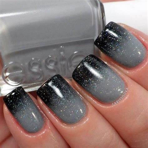 Grey To Black Glitter Nails Pictures, Photos, and Images