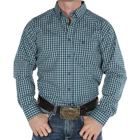 Ariat Navy and Green Plaid Shirt | West4us