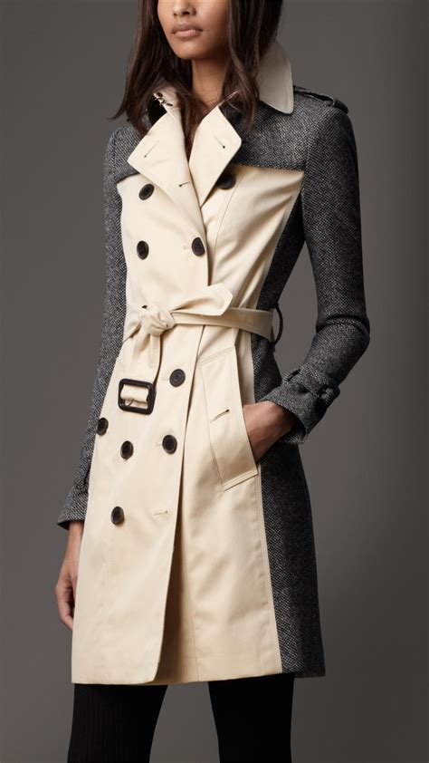 Burberry Long Tweed Panel Trench Coat in Gray - Lyst