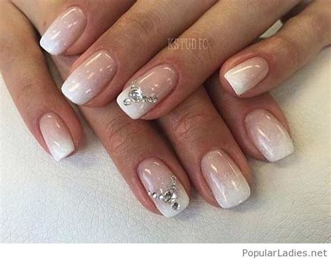 Simple ombre nails with diamonds | Wedding nail art design