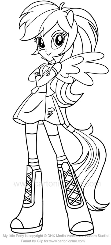 Rainbow Dash Equestria Girl Coloring Page at GetColorings