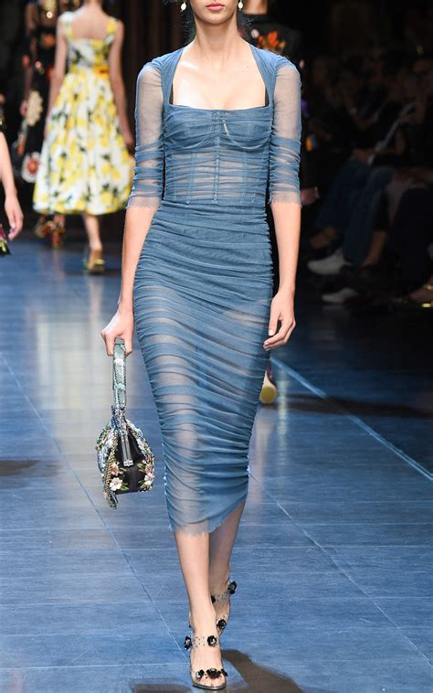 Dolce & Gabbana Stretch Cotton Tulle Ruched Dress in Light