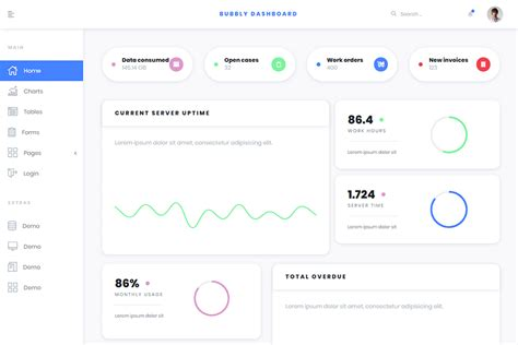 Bubbly - Free Bootstrap 4 Admin Template - 5 pages & 6 colours