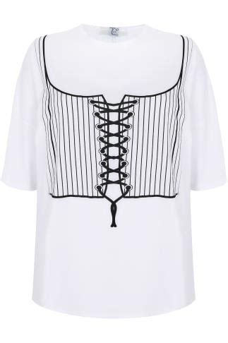 LIMITED COLLECTION White Corset Print T-Shirt With Lace Up