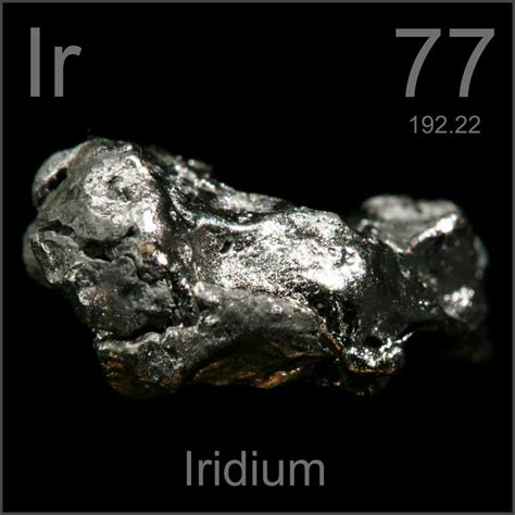 Larger lump, a sample of the element Iridium in the