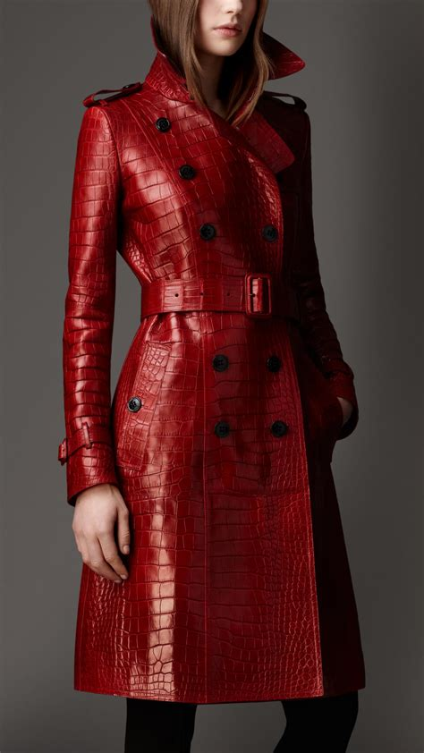 Burberry Long Alligator Leather Trench Coat in Red | Lyst