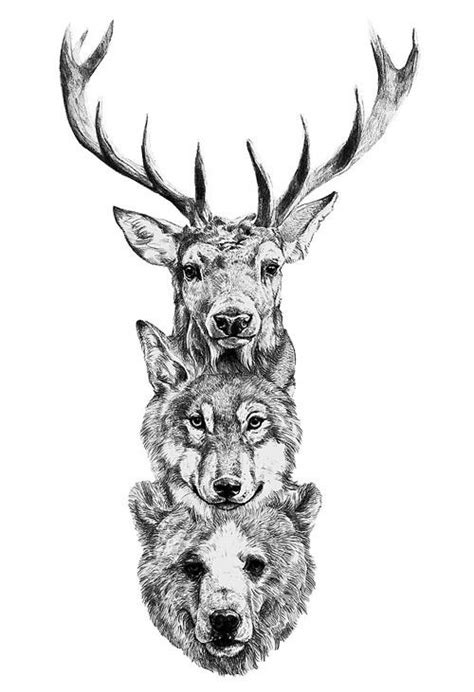 tattoos, bear, wolf, deer, picture, drawing | Totem tattoo
