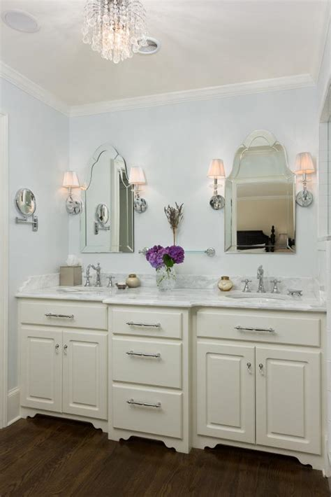 Light Blue Traditional Master Bathroom With Double Vanity