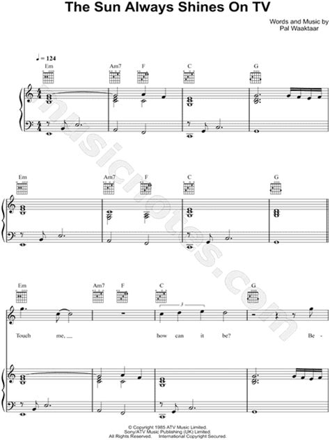 """a-ha """"The Sun Always Shines on TV"""" Sheet Music in A Minor"""