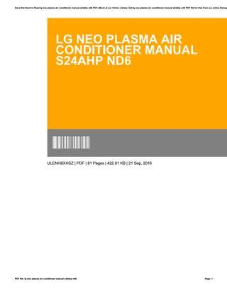 Lg neo plasma air conditioner manual s24ahp nd6 by