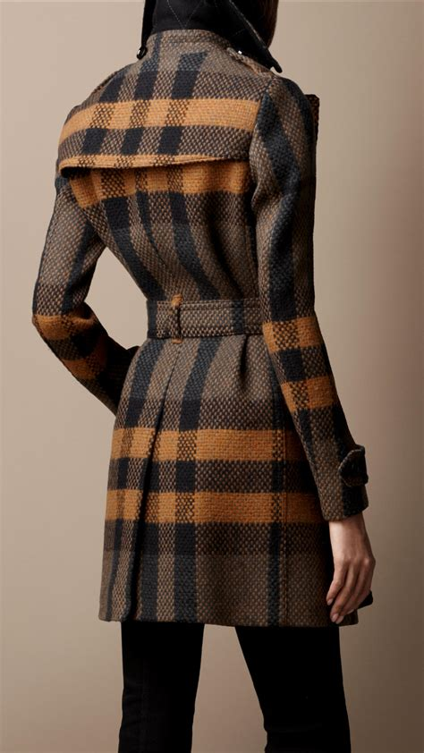 Lyst - Burberry Brit Midlength Woven Check Wool Trench