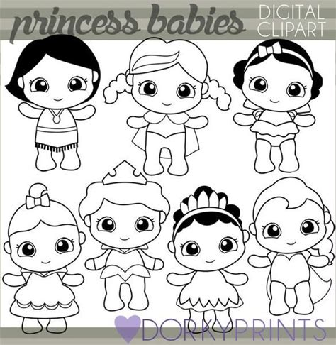 Black Line Baby Princess Character Clipart | Baby clip art