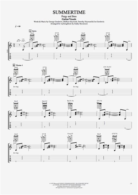 Summertime by George Gershwin - Guitar/Vocals Guitar Pro